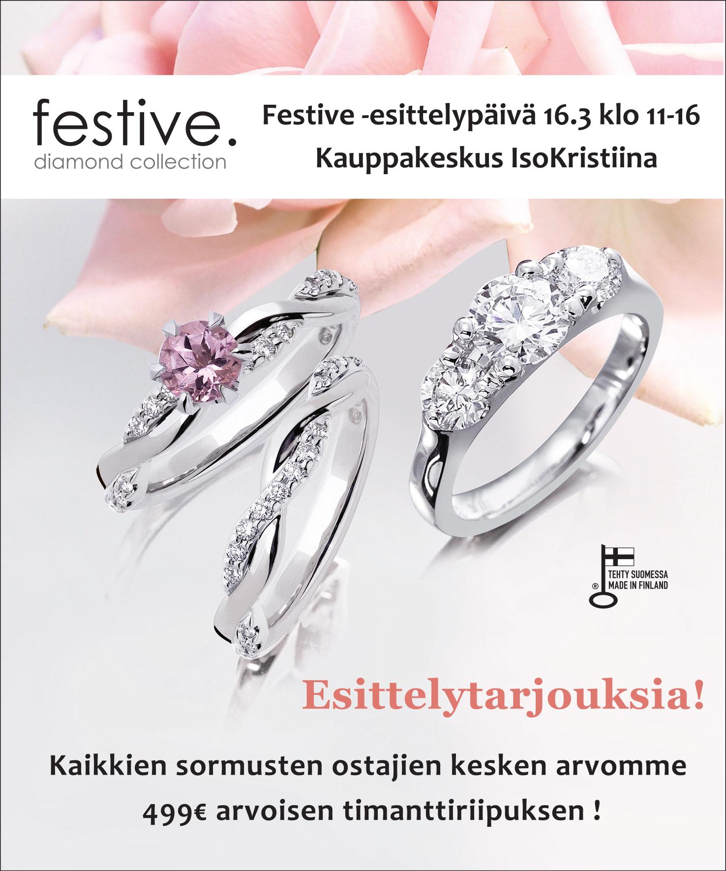 Suninen Festive timanttisormukset